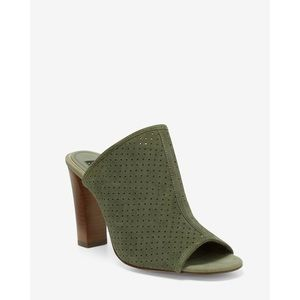 WHBM | Military Green Suede Perforated Mules